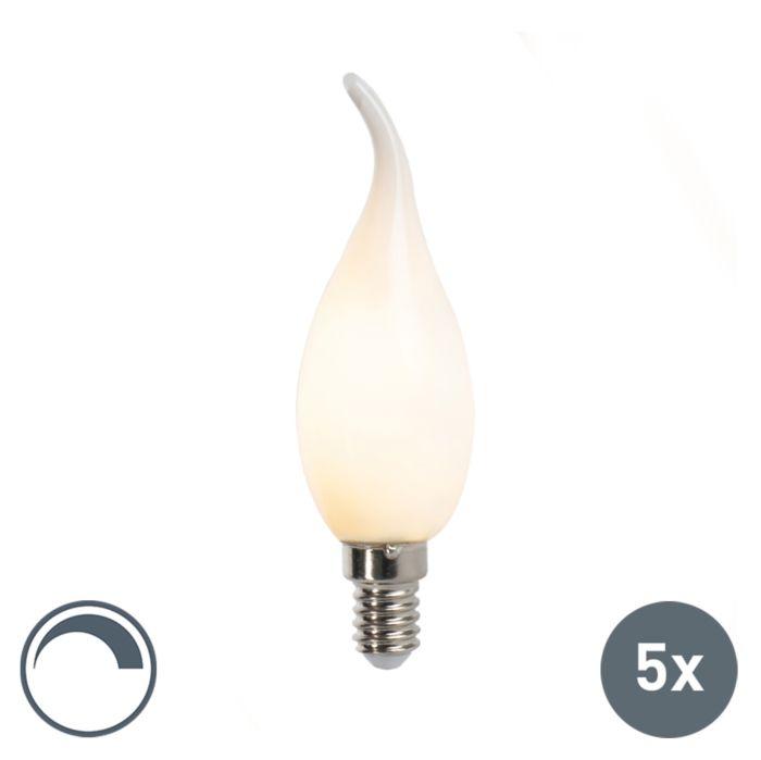 Set-van-5-E14-dimbare-LED-filament-tipkaarslampen-F35-mat-3W