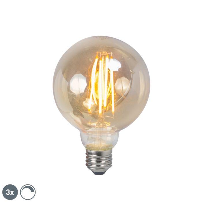 Set-van-3-LED-filament-lamp-E27-5W-2200K-G95-smoke-dimbaar