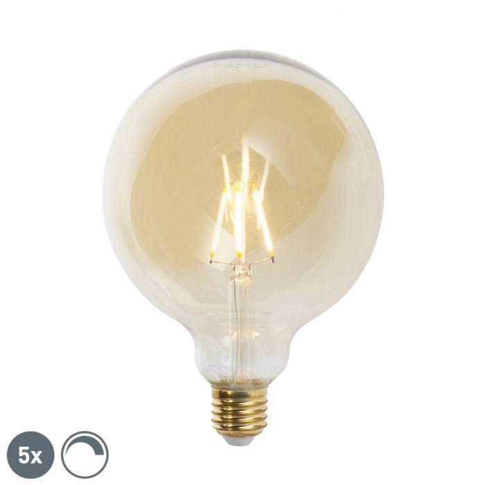 Set-van-5-E27-dimbare-LED-filament-lampen-G125-goldline-2200K
