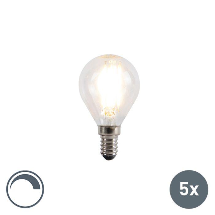 Set-van-5-E14-dimbare-LED-filament-kogellampen-5W-470lm-2700K