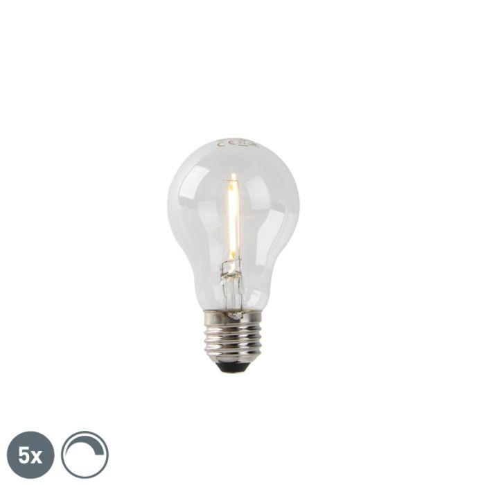 Set-van-5-E27-LED-filament-lampen-A60-1W-80-lm-2200K