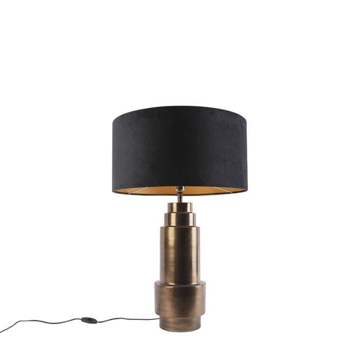 Art-deco-tafellamp-brons-velours-kap-zwart-met-goud-50cm---Bruut