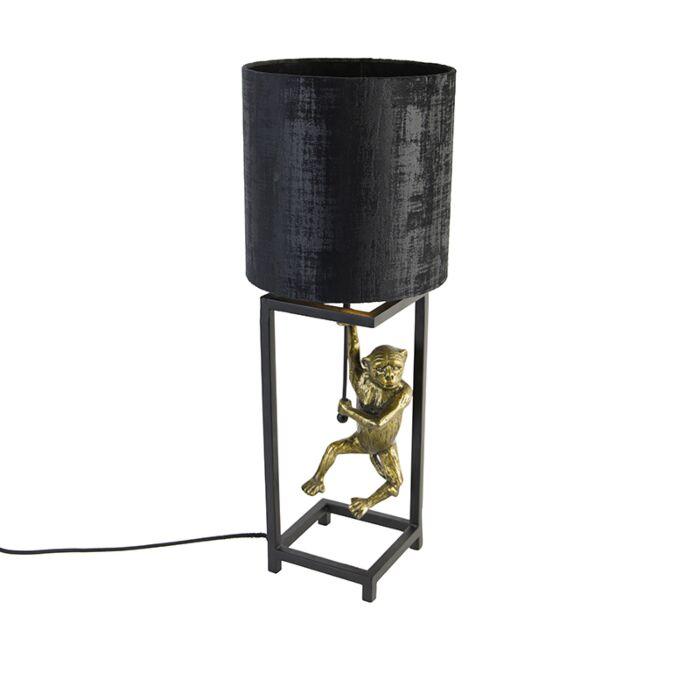 Tafellamp-zwart-stoffen-kap-zwart-25-cm---Animal-Cage-Abe
