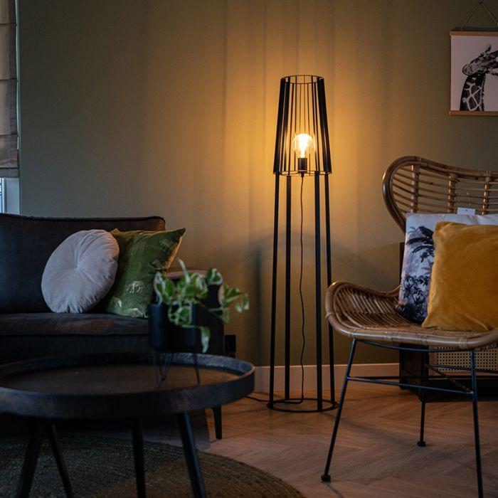Moderne-vloerlamp-zwart---Wieza