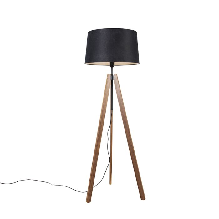 Vloerlamp-tripod-bruin-met-linnen-kap-zwart-45-cm---telu