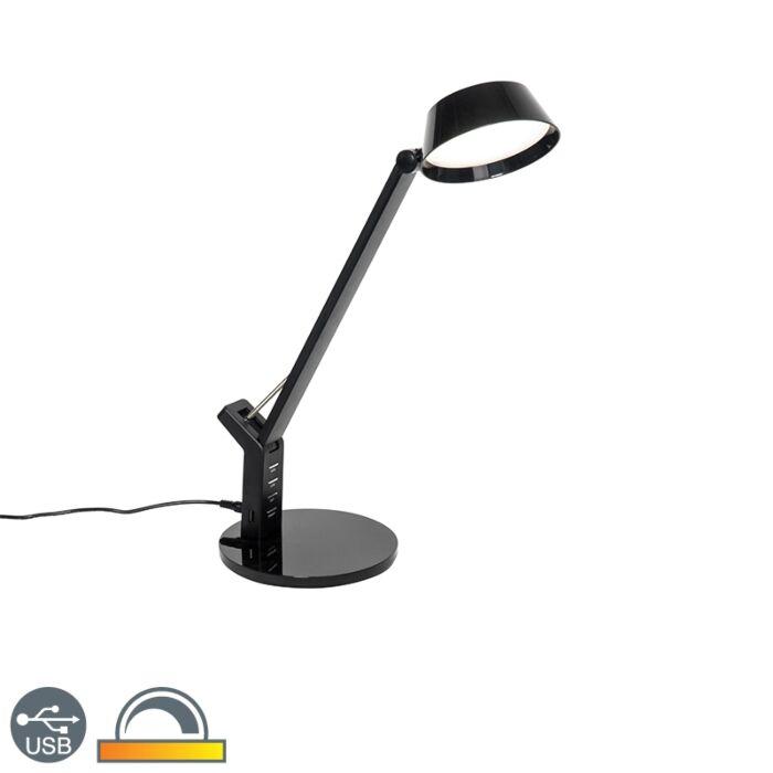 Tafellamp-zwart-met-touch-incl.-LED-met-USB-aansluiting---Edward