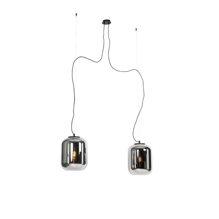 Design-hanglamp-zwart-met-smoke-glas-2-lichts---Bliss