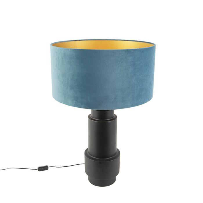 Art-deco-tafellamp-met-velours-kap-blauw-50-cm---Bruut