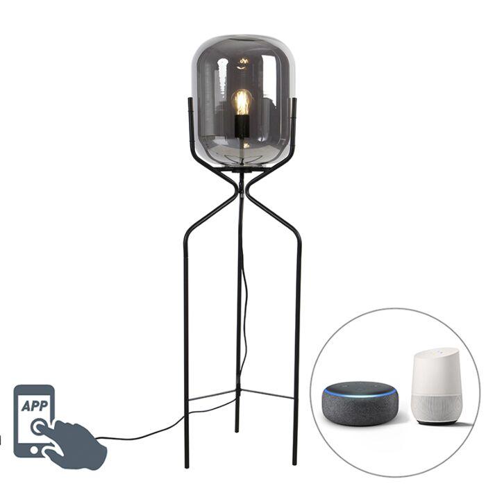 Smart-vloerlamp-zwart-incl.-WiFi-A60-smoke-glas---Bliss