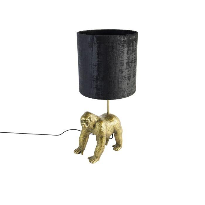 Vintage-tafellamp-goud-stoffen-kap-zwart---Animal-Gorilla