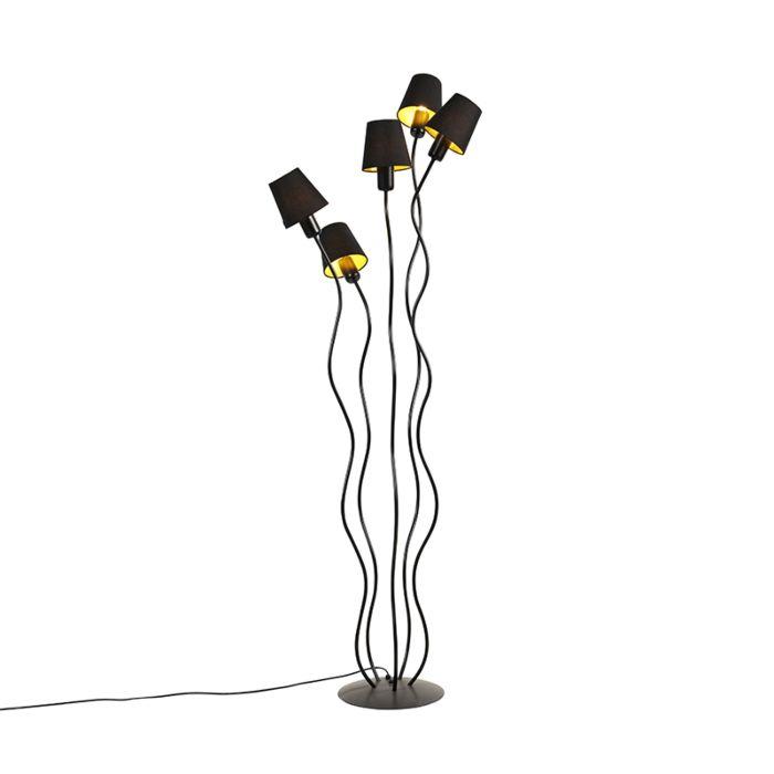 Design-vloerlamp-zwart-5-lichts-met-klemkap---Wimme