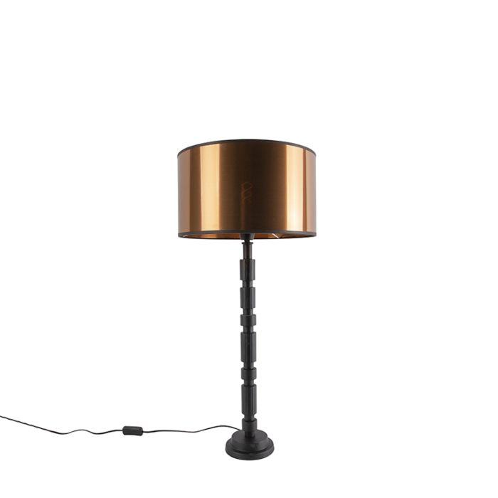 Art-deco-tafellamp-zwart-met-koperen-kap-35-cm---Torre