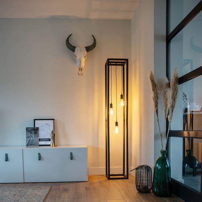 Industriële-vloerlamp-zwart-3-lichts---Big-Cage