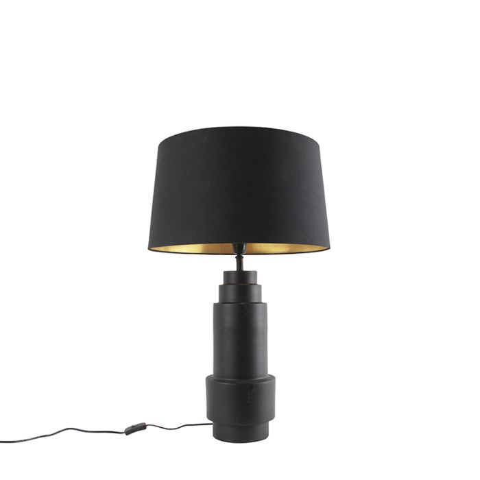 Art-deco-tafellamp-zwart-met-katoenen-zwarte-kap-50cm---Bruut