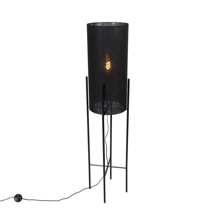 Moderne-vloerlamp-zwart-met-linnen-zwarte-kap---Rich