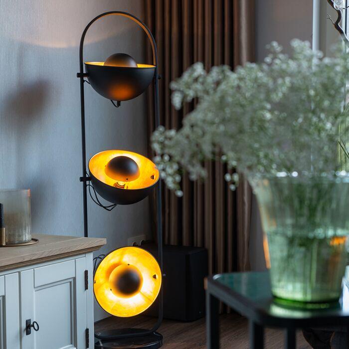 Industriële-vloerlamp-zwart-met-goud-3-lichts---Emilienne