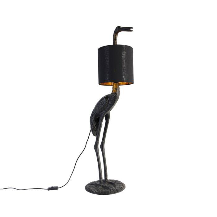 Vintage-vloerlamp-zwart-met-stoffen-kap-zwart---Animal-Kraanvogel-To