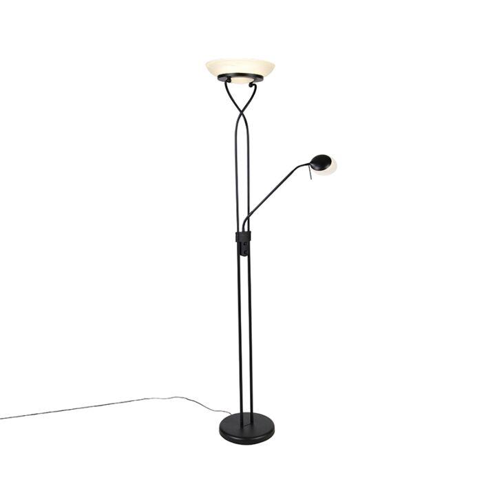 Vloerlamp-zwart-incl.-LED-en-dimmer-met-leeslamp---Empoli