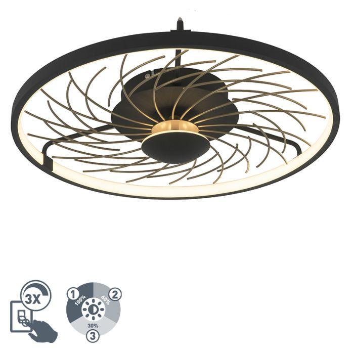 Design-plafonnière-zwart-met-goud-3-staps-dimbaar---Spaak