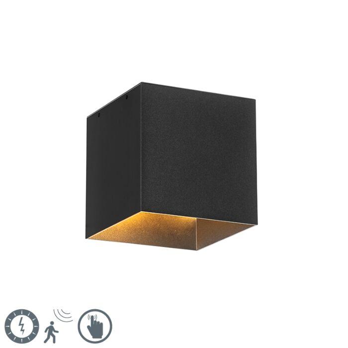 Moderne-buiten-wandlamp-zwart-IP65-incl.-LED-solar---Charlotte