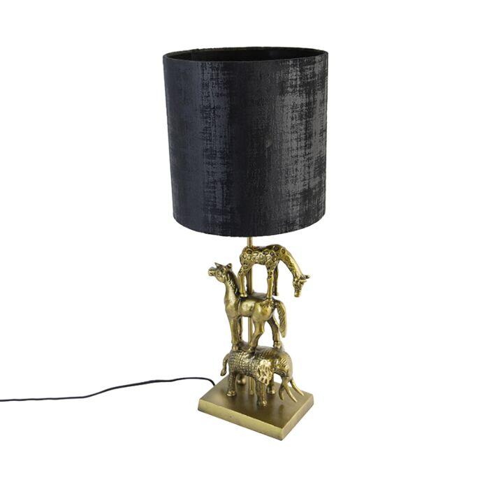Vintage-tafellamp-messing-met-kap-zwart-25-cm--Dier-Tre
