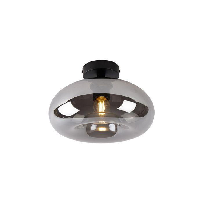 Art-deco-plafondlamp-zwart-met-smoke-glas---Busa