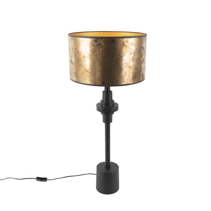 Art-deco-tafellamp-met-kap-brons-35-cm---Diverso