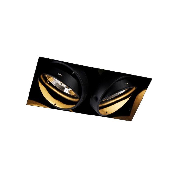 Inbouwspot-zwart-GU10-AR111-Trimless-2-lichts---Oneon