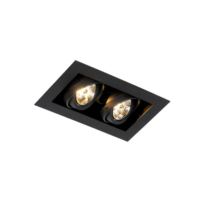 Moderne-inbouwspot-zwart-2-lichts-verstelbaar---Oneon-70