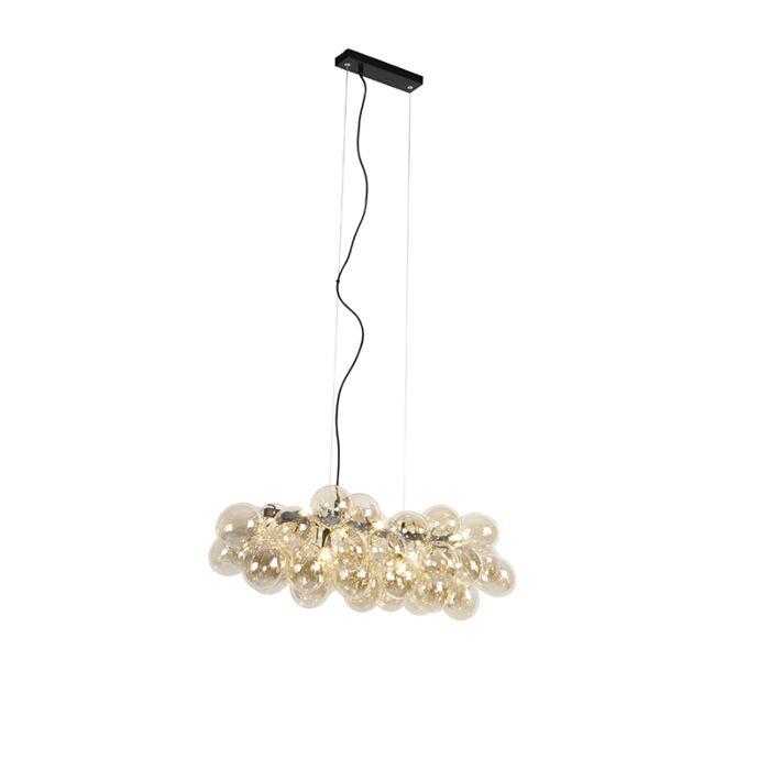 Design-hanglamp-zwart-met-amber-glas-8-lichts---Uvas