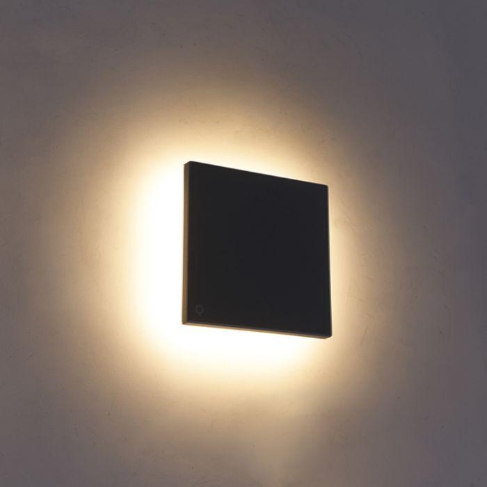 Design-wandlamp-grijs-aluminium-15-cm-incl.-LED-10W---Skyf