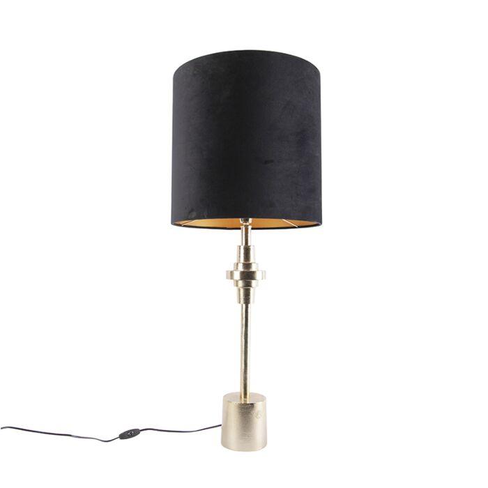 Art-Deco-tafellamp-goud-velours-kap-zwart-40-cm---Diverso