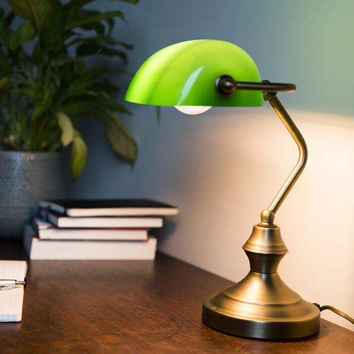 Klassieke-tafellamp/notarislamp-brons-met-groen-glas---Banker