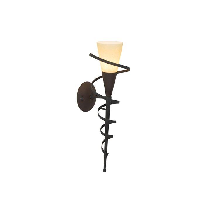 Landelijk-wandlamp-roestbruin-met-creme-glas---Castle