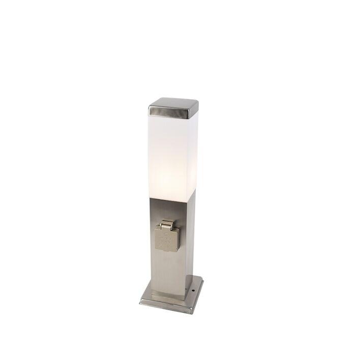 Moderne-buitenlamp-45-cm-staal-met-stopcontact-IP44---Malios