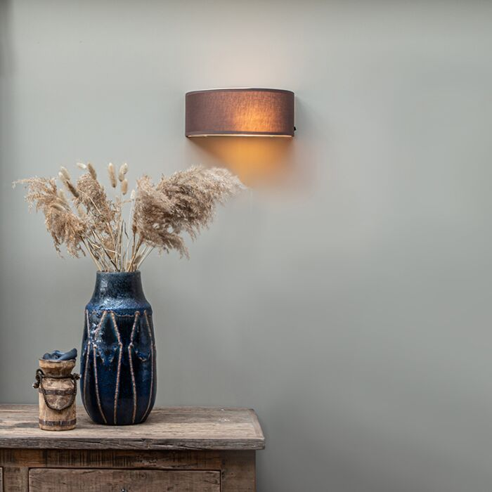 Landelijke-wandlamp-half-rond-bruin---Drum