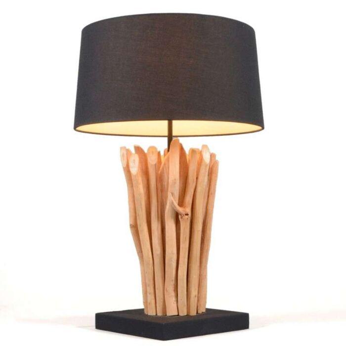 Tafellamp-Phatom-naturel-met-kap-zwart