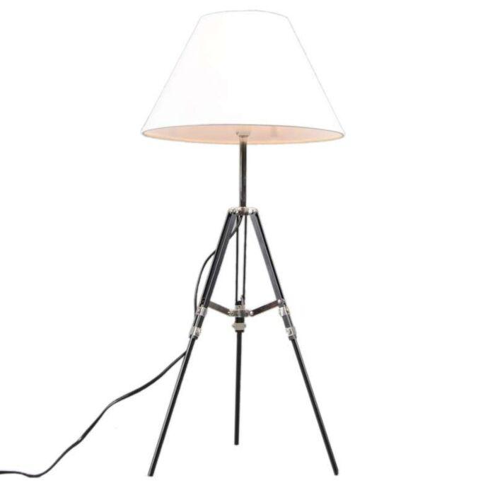 Tafellamp-Tripod-zwart-met-kap-wit