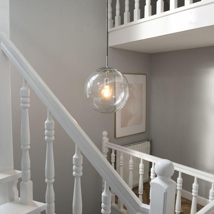 Scandinavische-hanglamp-chroom-met-helder-glas---Ball-40