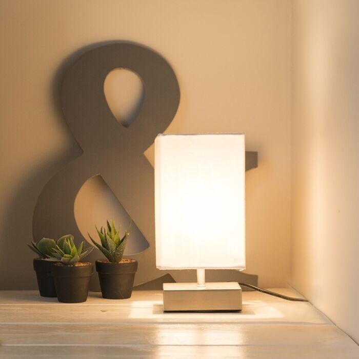 Moderne-tafellamp-wit-met-staal---Milo