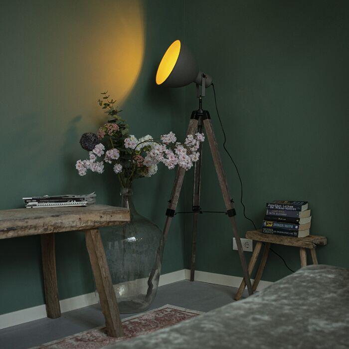 Industriële-vloerlamp-op-houten-driepoot-met-grijze-kap---Laos