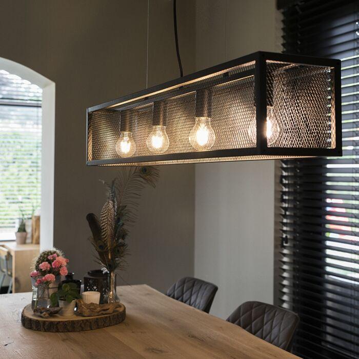 Industriële-hanglamp-zwart-met-gaas-4-lichts---Cage