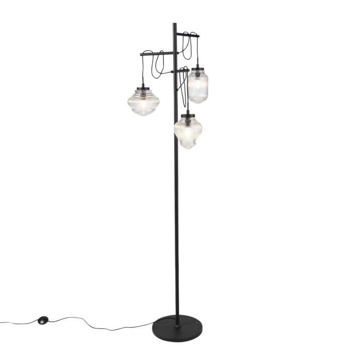 Art-Deco-vloerlamp-zwart-met-helder-glas-3-lichts---Bolsena
