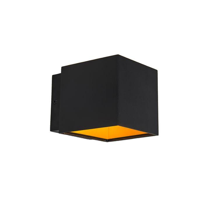 Set-van-2-design-wandlampen-zwart/goud-incl.-LED---Caja