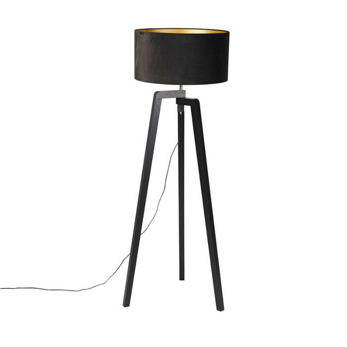 Vloerlamp-tripod-zwart-hout-met-zwarte-kap-50-cm---Puros