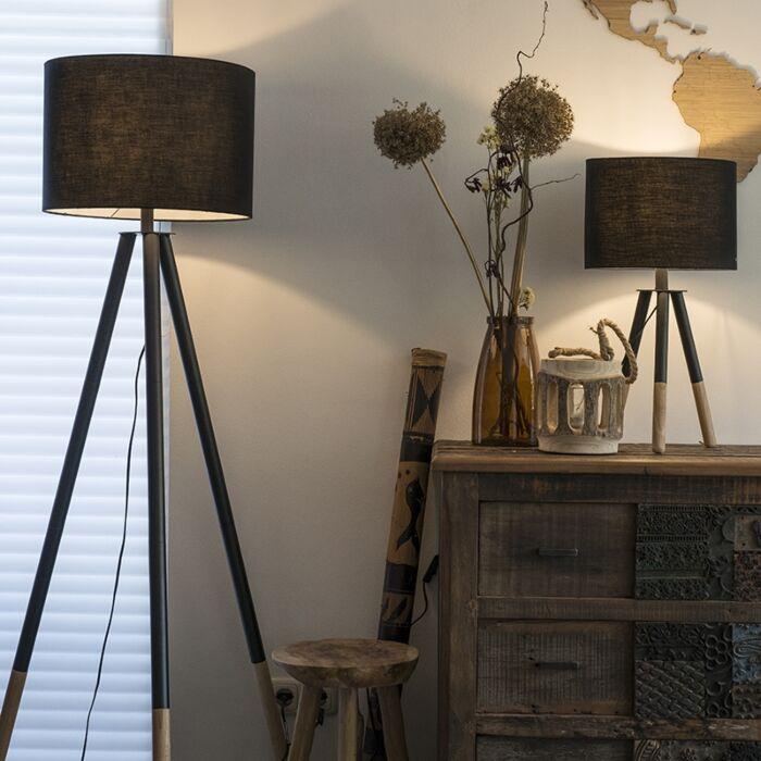 Set-van-tafel--en-vloerlamp-met-kap-zwart---Pip