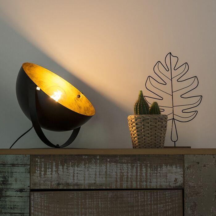 Industriële-tafellamp-zwart-met-goud-verstelbaar---Magna