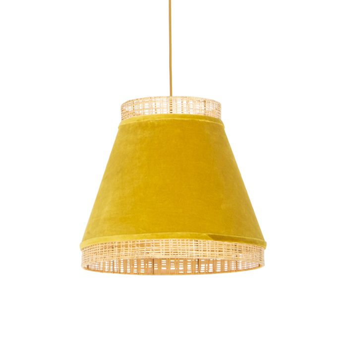 Retro-hanglamp-messing-velours-kap-geel-45-cm---Frills-Can