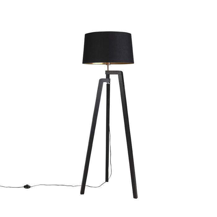 Vloerlamp-tripod-met-katoenen-kap-zwart-met-goud-50-cm---Puros