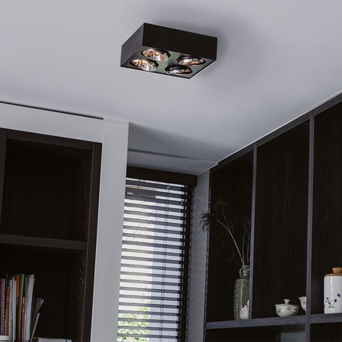 Design-spot-vierkant-4-lichts-zwart---Kaya